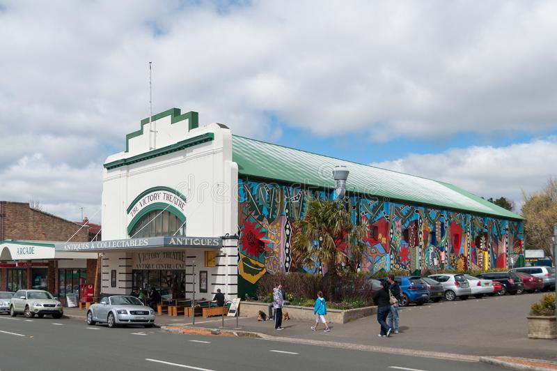 The Victory Theatre building with modern graffiti art on the wall stock image
