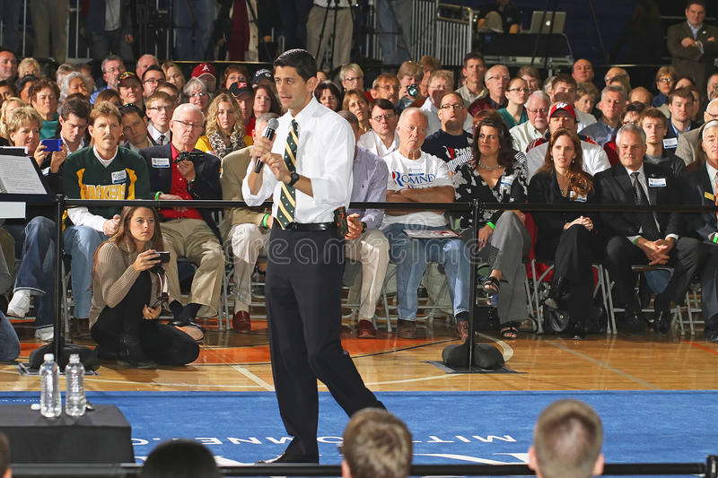 Victory Town Hall with Paul Ryan and the GOP Team. Paul Ryan, GOP Vice Presidential candidate, and U.S Congressman for WI, attended a Town Hall Meeting Oct 15 stock photos