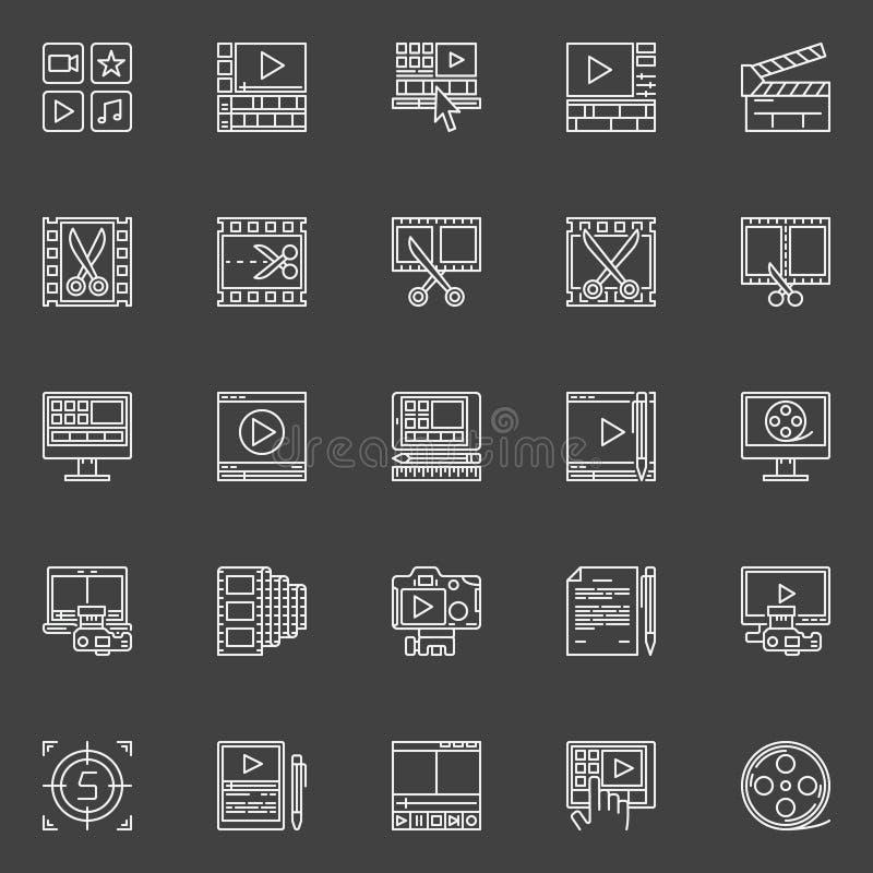 Vidéo éditant les icônes linéaires illustration de vecteur
