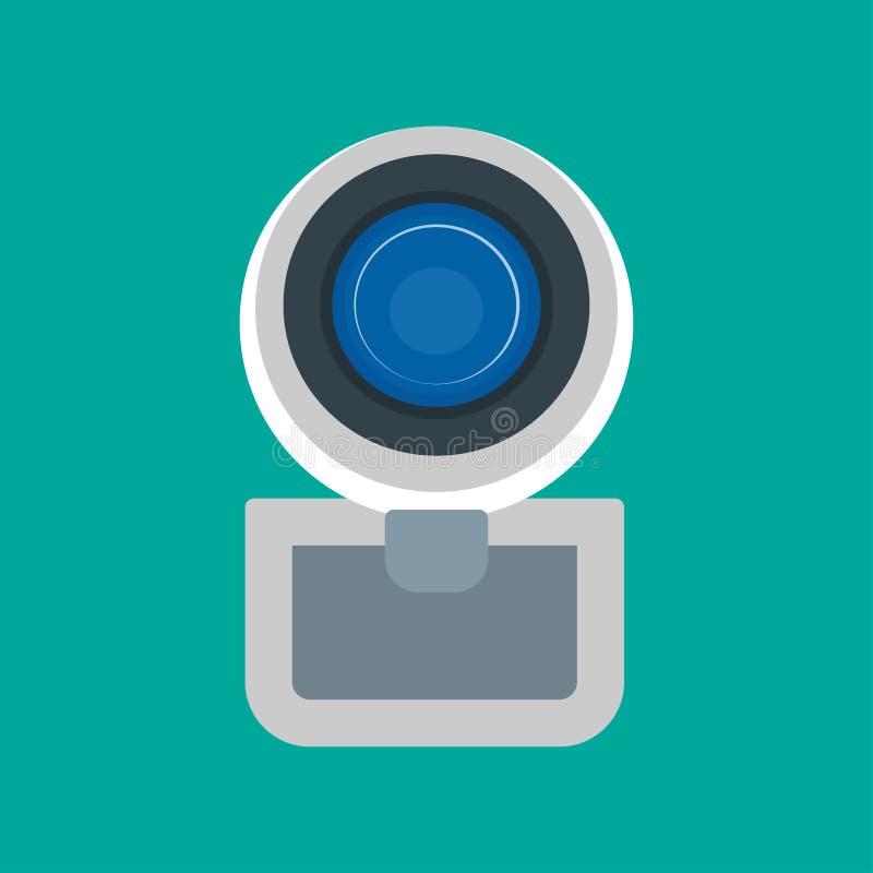 Vidéo d'équipement de technologie numérique d'icône de vecteur de vue de face de caméra web Causerie de réseau de conférence de d illustration stock