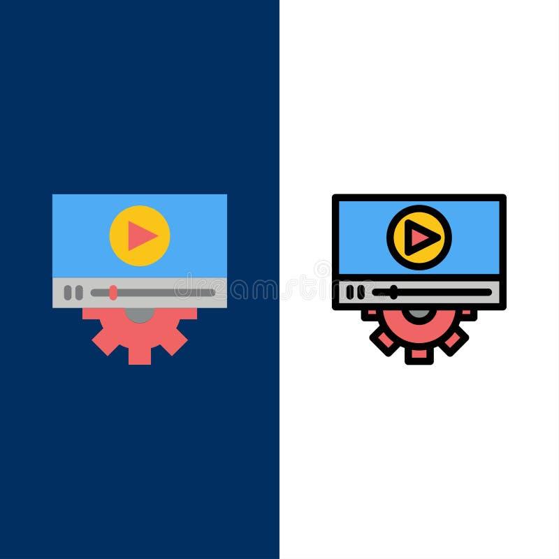 Vidéo, jeu, arrangement, icônes de conception L'appartement et la ligne icône remplie ont placé le fond bleu de vecteur illustration libre de droits