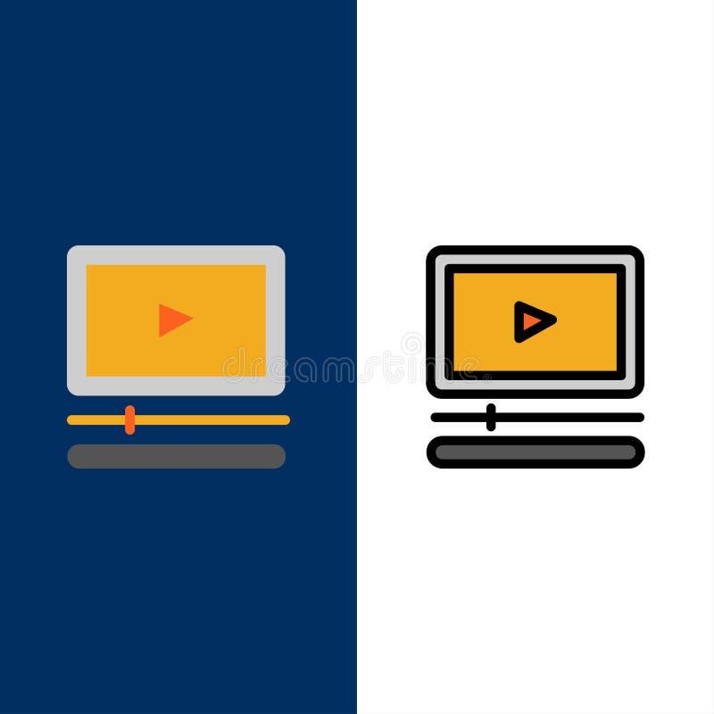 Vidéo, joueur, audio, Mp3, icônes Mp4 L'appartement et la ligne icône remplie ont placé le fond bleu de vecteur illustration libre de droits