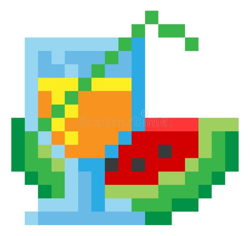 Vidéo mordue Art Icon du pixel 8 de cocktail de pastèque illustration de vecteur