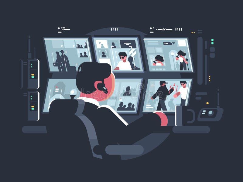 Vidéos surveillance de observation de sécurité illustration de vecteur