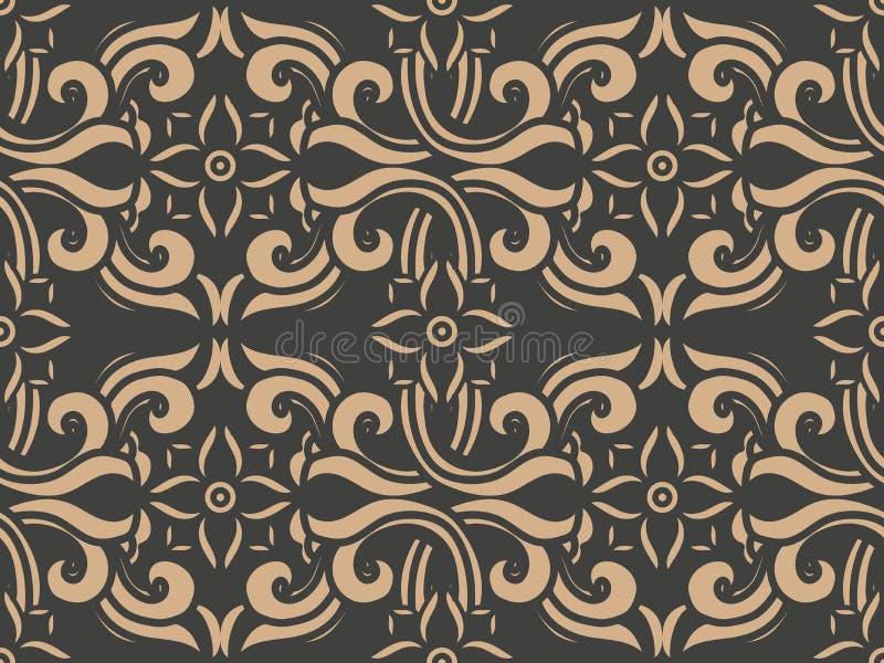 Vid cruzada de la flor del marco del modelo del damasco del vector de la curva espiral retra inconsútil del fondo ilustración del vector