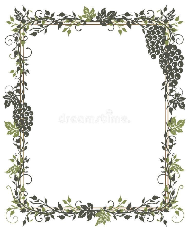 Vid, hojas, uvas, marco stock de ilustración