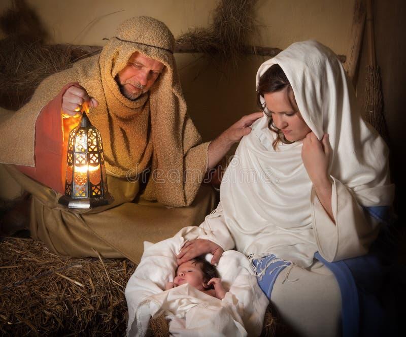 vid liv julkrubba arkivbilder