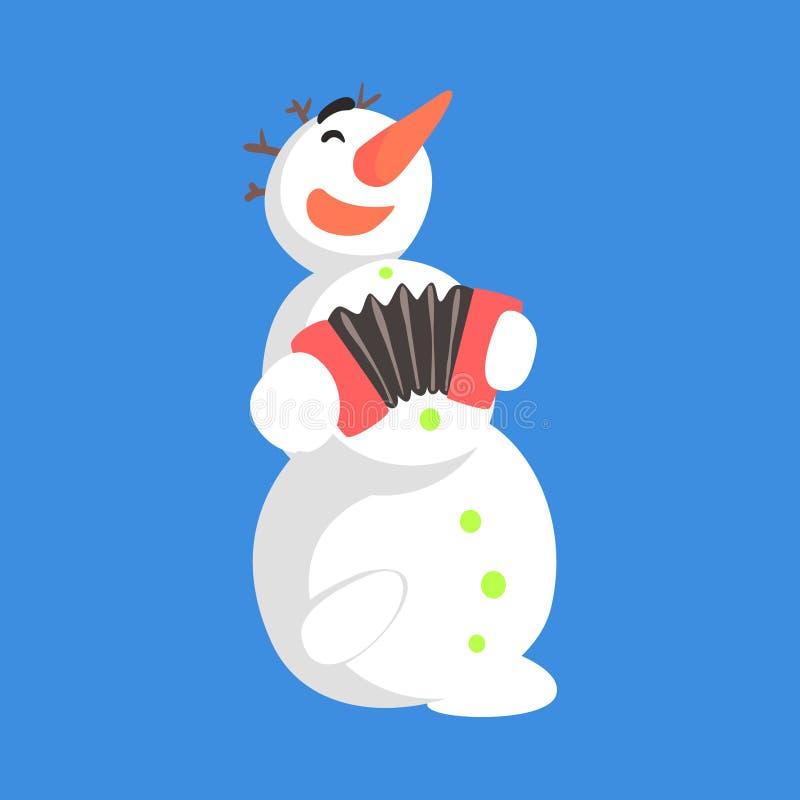 Vid liv klassiker tre kastar snöboll snögubben som spelar dragspels- läge för tecknad filmtecken stock illustrationer