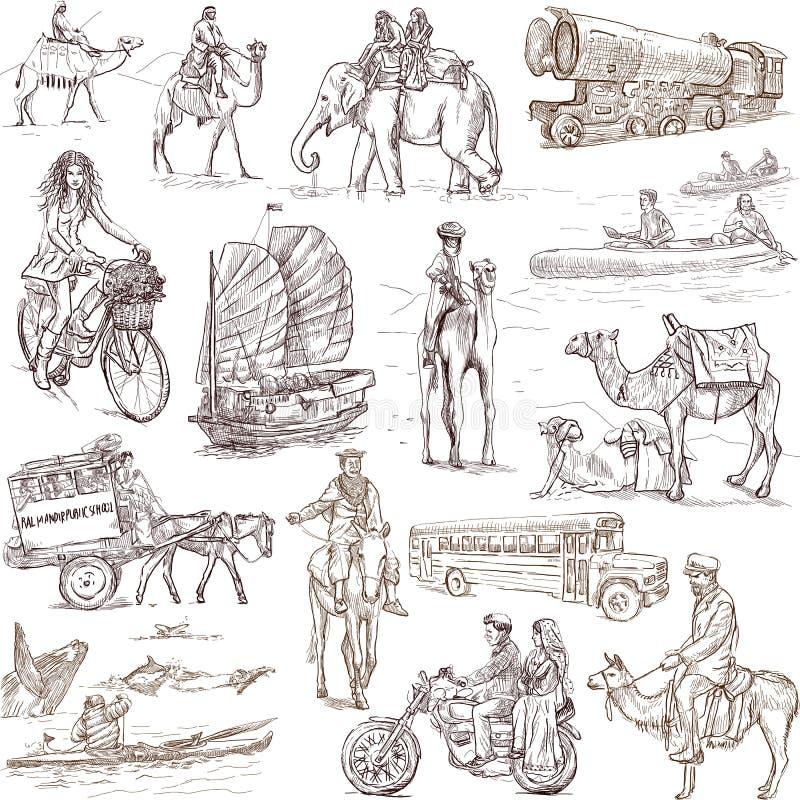 Vid vägen vid vattnet runt om världen royaltyfri illustrationer