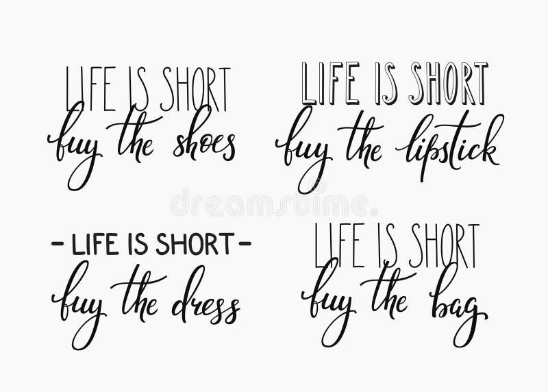 A vida é compra curto o batom do saco do vestido das sapatas ilustração do vetor