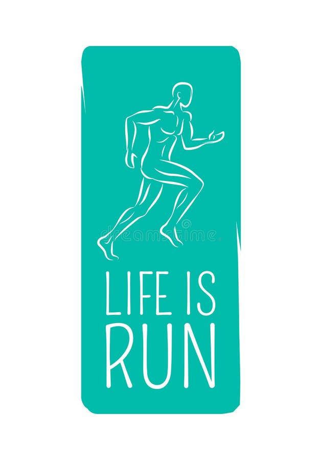 A vida é corrida Logo Motto Credo para o fitness center ilustração royalty free