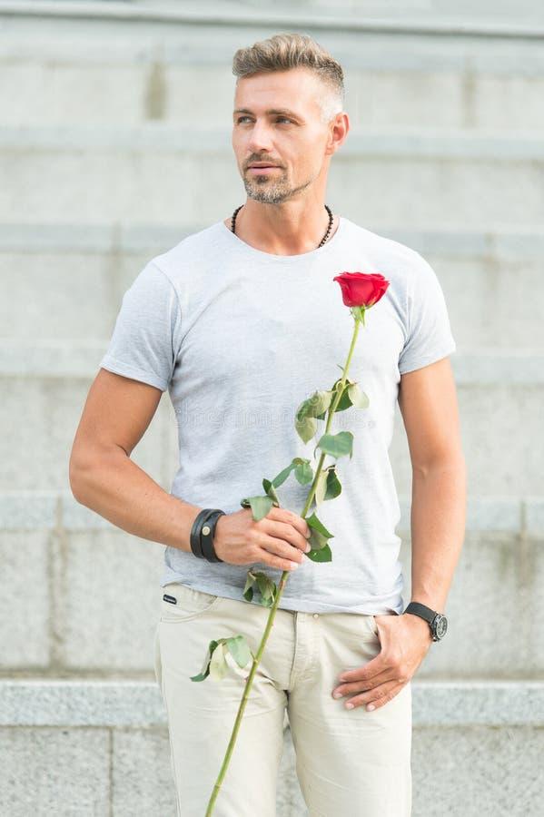 A vida é demasiado curto viver sem o amor Indivíduo considerável com data romântica da flor cor-de-rosa Homem no humor romântico  fotos de stock