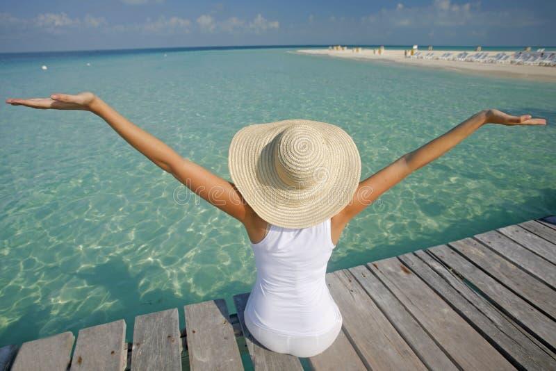 A vida é uma praia (o molhe) imagens de stock royalty free