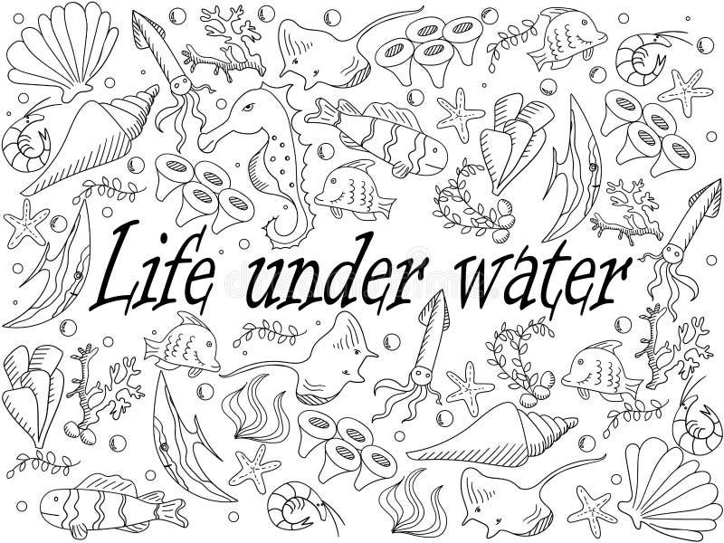 Vida Bajo Ejemplo Del Vector Del Libro De Colorear Del Agua ...