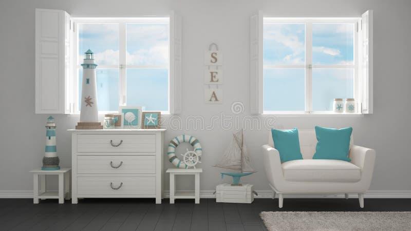 Vida blanca mediterránea, ventanas panorámicas, diseño interior del centro turístico del hotel del verano imagen de archivo