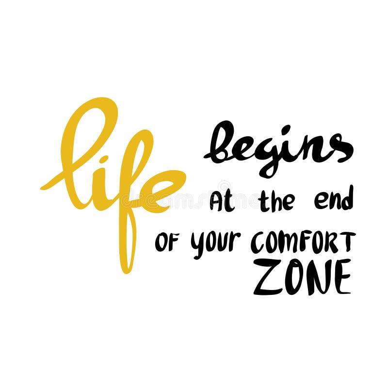 A vida começa no fim de sua zona de conforto ilustração stock