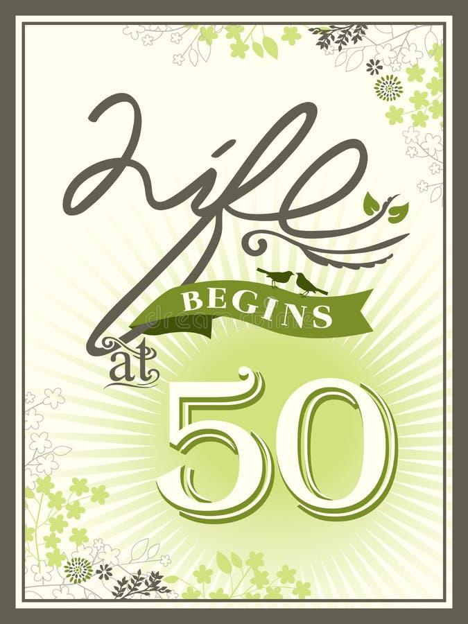 A vida começa no fundo de 50 aniversários ilustração royalty free