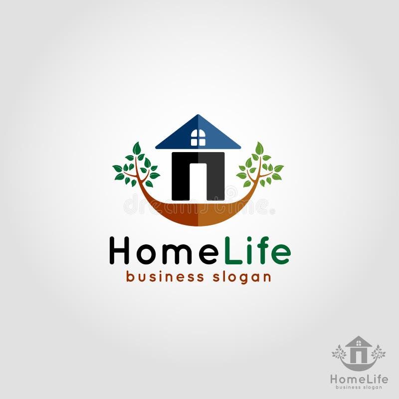 Vida da casa - logotipo da residência ilustração stock