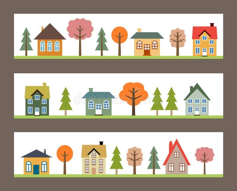 Vida da cidade pequena ilustração do vetor