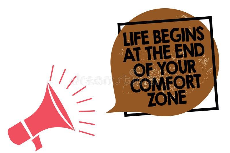 A vida da escrita do texto da escrita começa no fim de sua zona de conforto O significado do conceito faz mudanças evoluir cresce ilustração do vetor