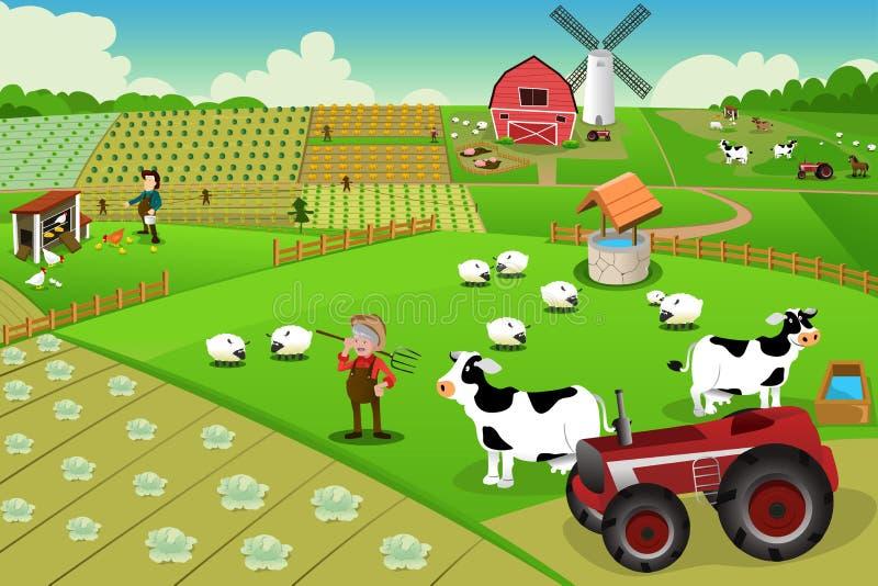 Vida da exploração agrícola ilustração royalty free