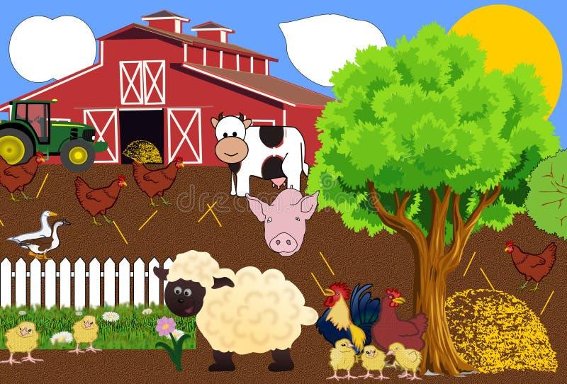 Vida da exploração agrícola no verão ilustração royalty free