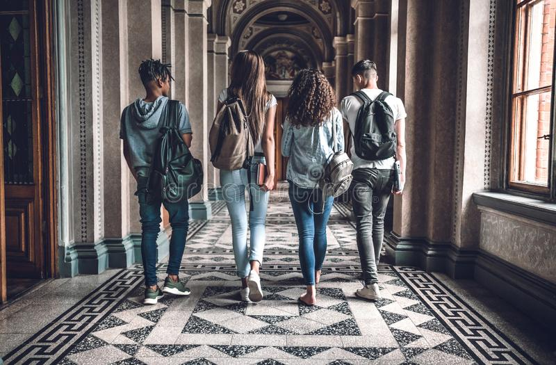 Vida da faculdade O grupo de estudantes está andando no salão e na conversa da universidade foto de stock