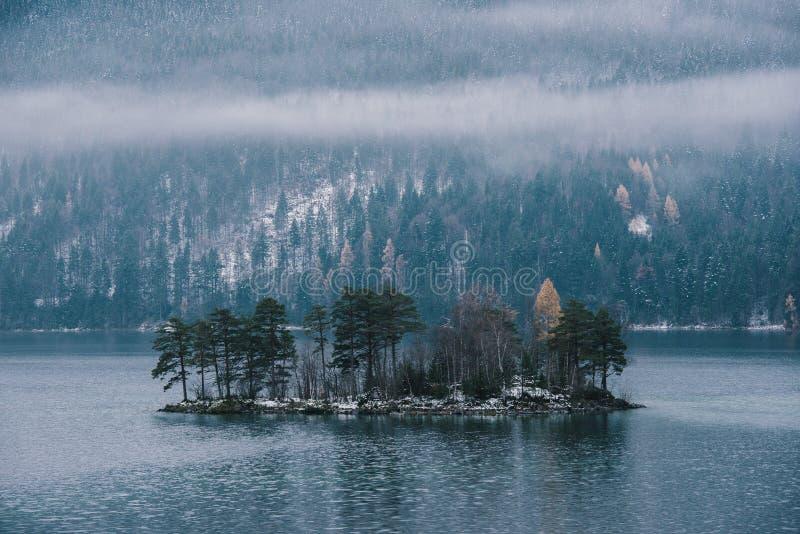 Vida da ilha no lago Eibsee fotos de stock