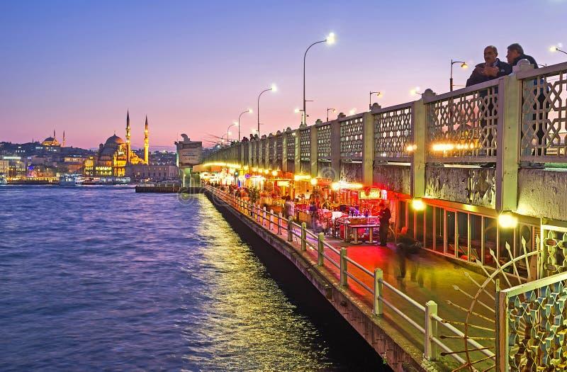 A vida da noite na ponte de Galata imagens de stock royalty free