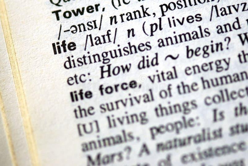 A vida da palavra em um dicionário imagem de stock royalty free
