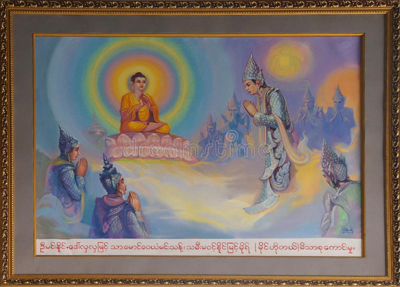 Vida da pintura da Buda fotografia de stock