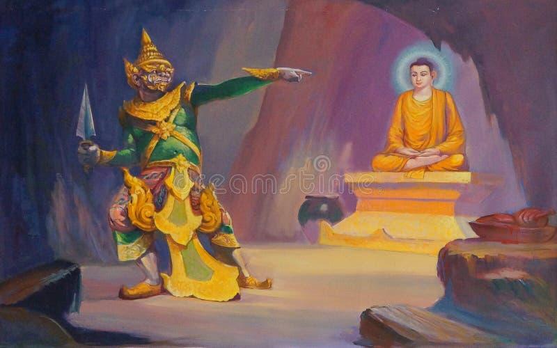Vida da pintura da Buda foto de stock