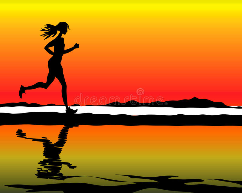 Vida da saúde da mulher da aptidão do esporte ilustração do vetor