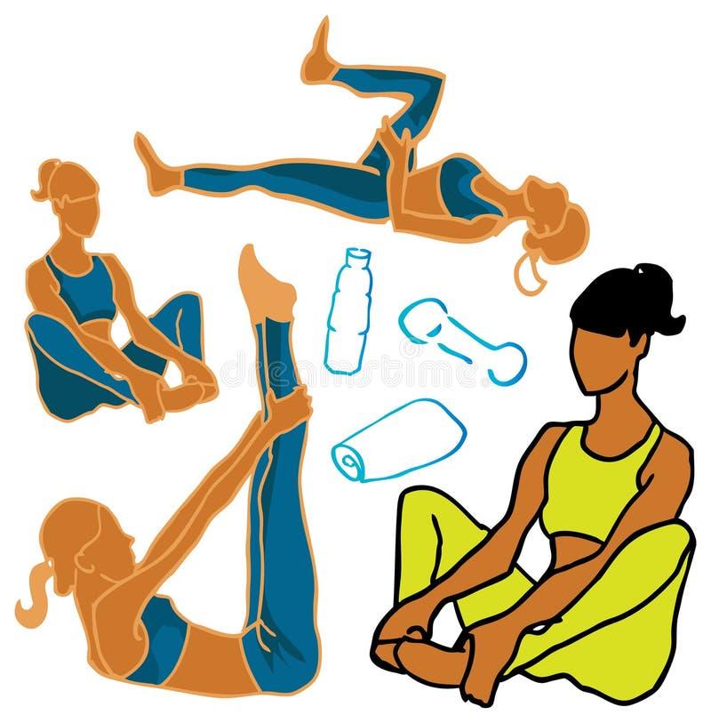 Vida da saúde dos ícones da mulher do esporte & da aptidão ilustração do vetor