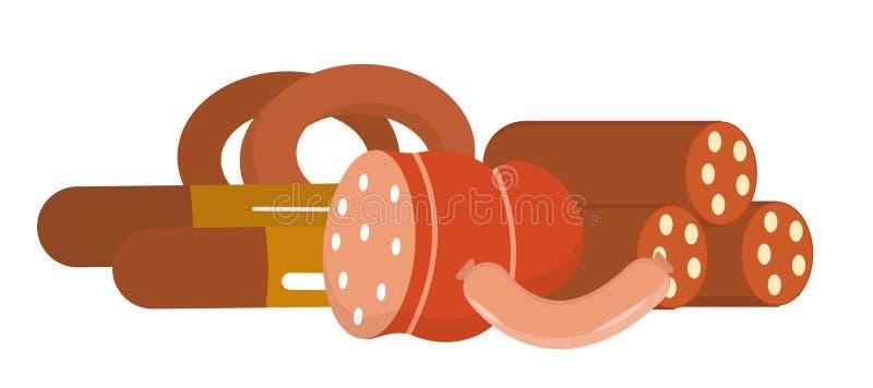 Vida da salsicha e das salsichas tipo frankfurter ainda, isolada no fundo branco Ilustração do vetor ilustração stock