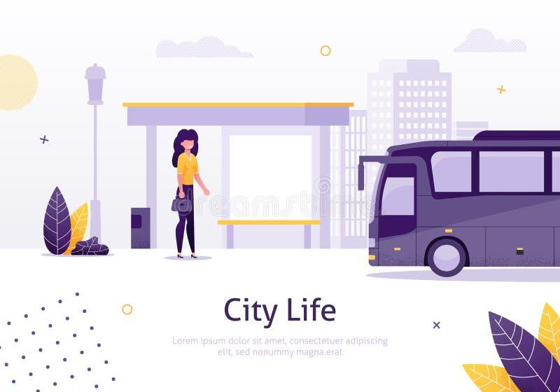 Vida de ciudad con la muchacha que se coloca en bandera de la parada de autobús ilustración del vector