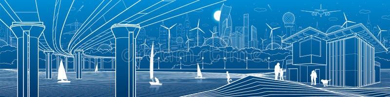 Vida de ciudad futurista Panorama de la infraestructura Ejemplo industrial Puente grande del automóvil Gente en la orilla del río ilustración del vector