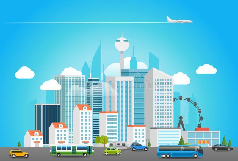 Vida de ciudad moderna Paisaje urbano con transporte ilustración del vector
