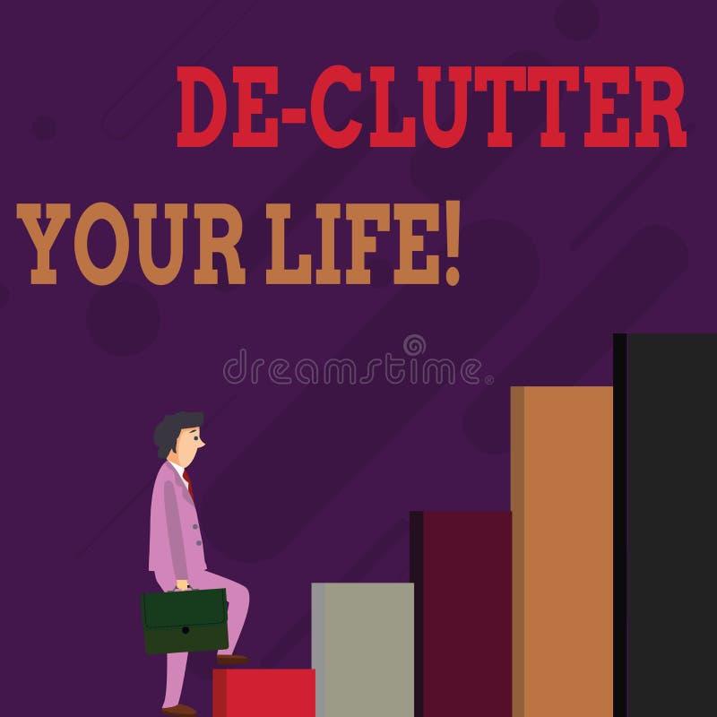 Vida de De Clutter Your del texto de la escritura El significar del concepto quita los artículos innecesarios desordenados o al h libre illustration