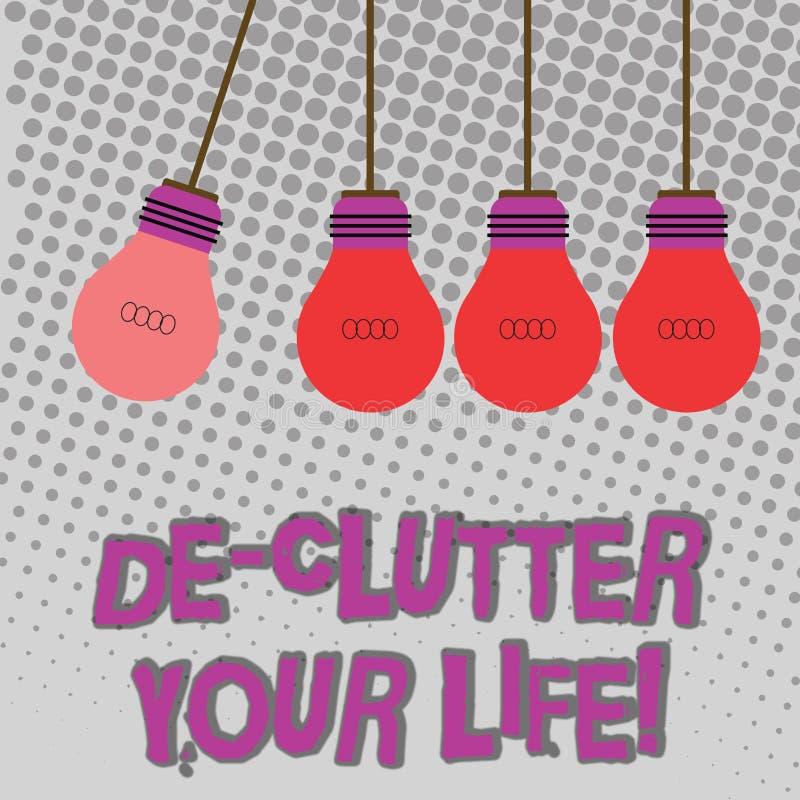Vida de De Clutter Your del texto de la escritura El significar del concepto quita los artículos innecesarios desordenados o colo libre illustration