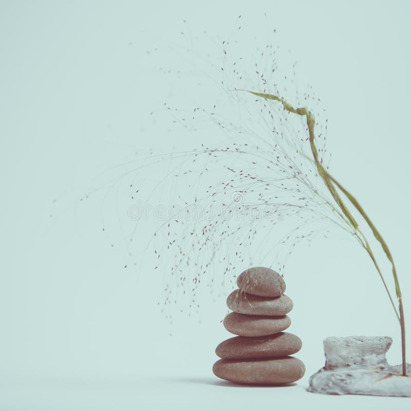 Vida de la calma del balneario con apilado de piedra con una rama hermosa fotos de archivo