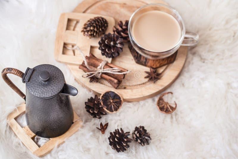 Vida de la calma del invierno con los conos y la bebida caliente imágenes de archivo libres de regalías