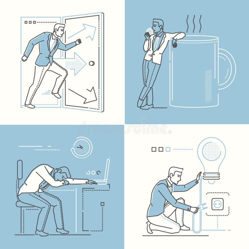 Vida de la oficina - sistema de la línea ejemplos del estilo del diseño ilustración del vector