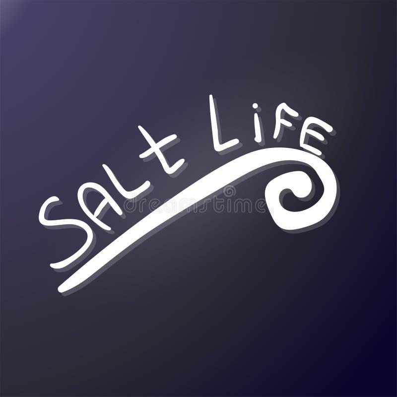 Vida de la sal El garabato y la onda de la mano de la inscripción letras del bosquejo Etiqueta engomada externa Conveniente para  stock de ilustración