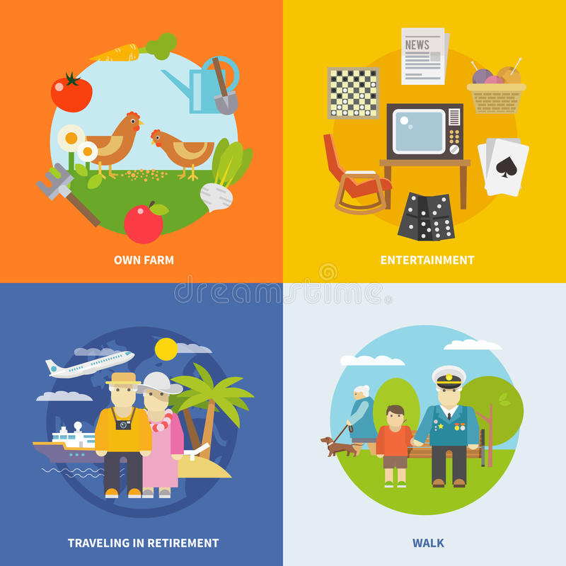 Vida de los pensionistas plana libre illustration