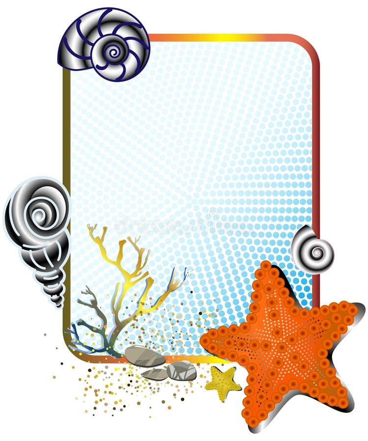 Vida de mar no frame com starfish ilustração do vetor