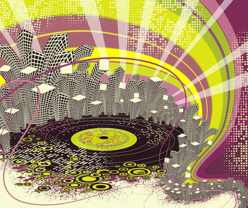 Vida de noite urbana do disco. ilustração stock
