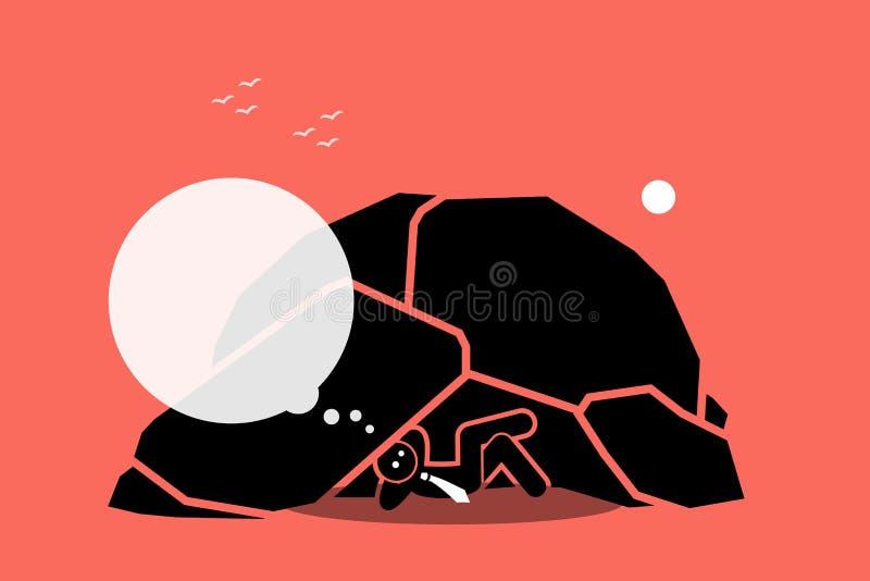 Vida del hombre debajo de una roca o de una cueva libre illustration