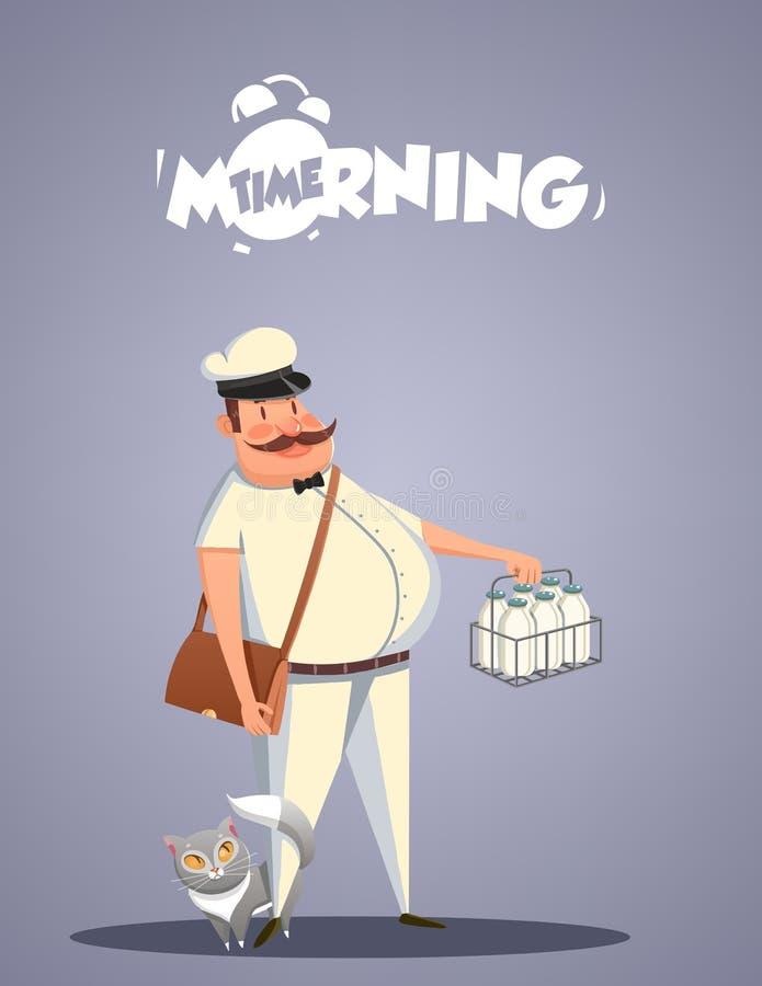Vida diaria de la mañana Lechero y gato libre illustration