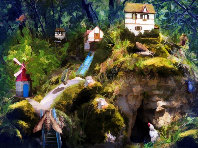 Vida do conto de fadas de moradores da floresta ilustração stock